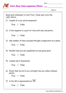 Lines Rays Line segments & Planes worksheet